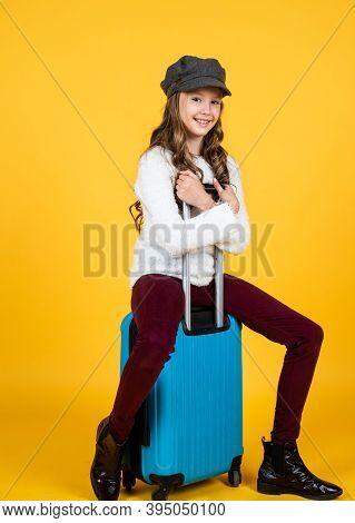 Lets Go. Seasonal Autumn Wanderlust. Teenage Girl Carry Suitcase. Happy Childhood. Traveling And Adv