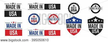 Made In The Usa . Set Of Label Made In Us . Vector Icon On White Background .american Product Emblem