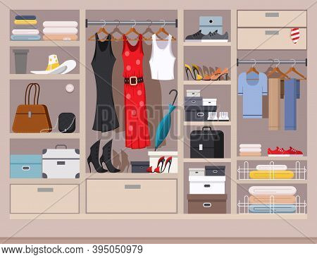 Open Wardrobe With Women's And Men's Clothing. Closet With Shelves, Hangers And Boxes. Vector Flat I