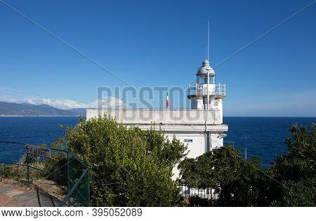 Portofino, Italy, September 1, 2020 - The White Lighthouse Of Portofino,  Ligurian Coast, Genoa Prov