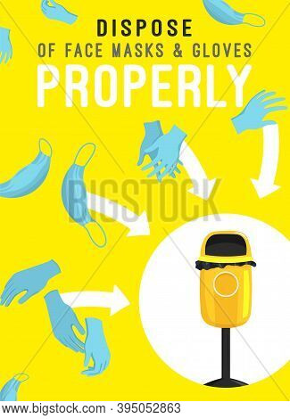 Dispose Of Face Masks Here. Correct Disposal Of Medical Supplies. Safe Ecology. Vertical Poster.tras