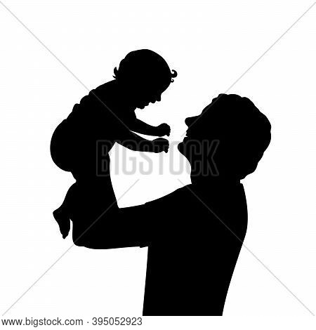 Silhouette Happy Father Holding Newborn Baby In Air Closeup. Illustration Graphics Icon Vector