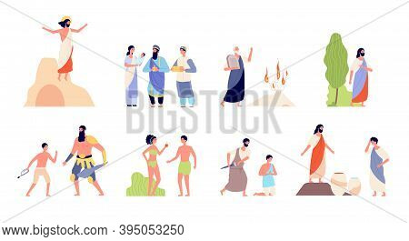 Bible Scenes. Religion People, Isolated Biblical Legendary Concepts. Christian Story, Murder Prayer