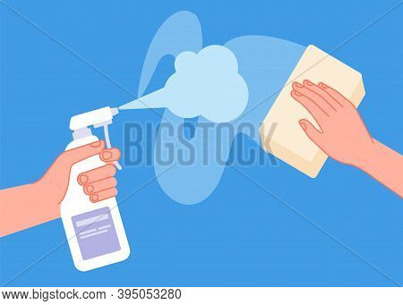 Cleaning Surface. Clean Table, Wipe Sanitise Or Disinfect Desk. Hand Holding Spray, Utter Antibacter