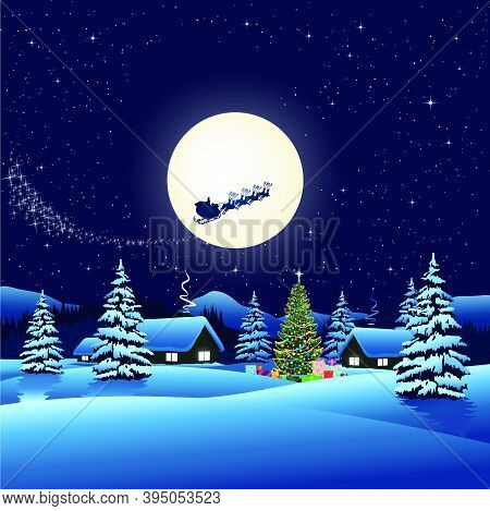 Vector Of Santa Claus On Sleigh Flying In Sky Against Full Moon Over Rural Houses