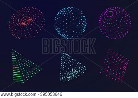 Science Atom Sphere. Digital Grid Globe, Abstract Color Dots Geometric Form. 3d Wireframes Particle,