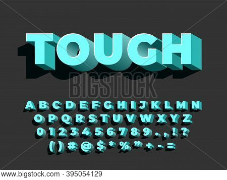 Bold 3d Font. Strong Typography, Retro Style Alphabet. Letters Numbers With Shadow, Entertainment Ty