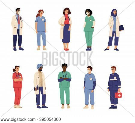 Doctor Nurse Characters. Health Professionals, Isolated Medical Hospital Persons. Male Paramedic Sur