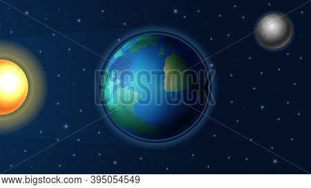 Day Night Cycle. Sunlight On Earth Planet, Realistic Sun And Moon. Astronomy Background, Ray In Spac