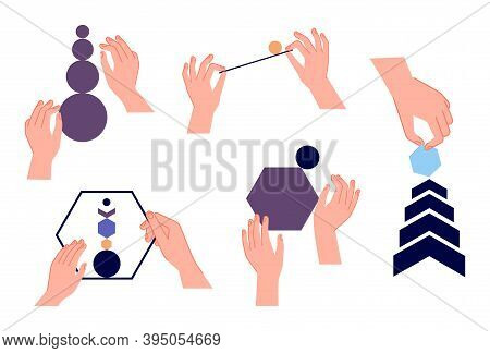 Hands Keep Balance. Abstract Forms In Arms, Analytics Teamwork Metaphor. Handmade Geometric Shapes,
