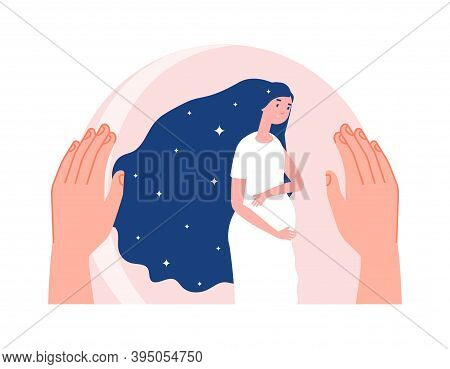 Mother Protection. Motherhood, Pregnant Woman In Safety Bubble. Hand Care About Young Female, Baby W