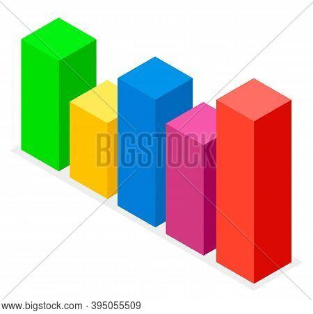 Large Colorful Volumetric Rectangles, Image Of Conceptual Chart Bar, Graph. Growth, Increase, Monito