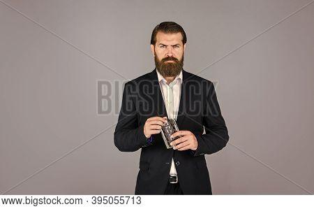 Hip Flask For Whiskey. Vintage Gentleman Gift Shop. Brutal Businessman Drinking Alcohol. Man With Hi