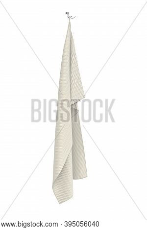 Cream Colored Towel Hanging On A Metal Double Handle On A White Background 3d - 3d Render