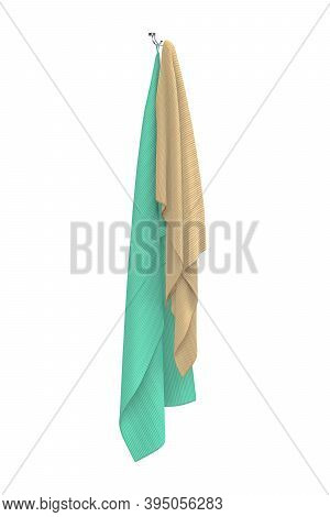 Two Green And Cream Towels Are Hanging On A Metal Holder - Isolated On A White Background - 3d Rende