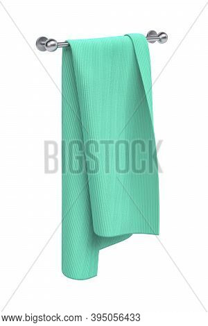 Green Towel Hung On A Long Metal Holder - Isolated On White - 3d Render