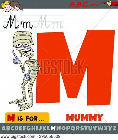 Educational Cartoon Illustration Of Letter M From Alphabet With Mummy Character For Children