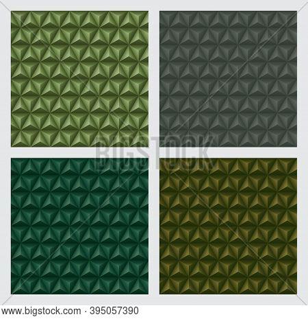 3d Triangles Pyramids, Earth Tone Green Color Backgrounds Set. Geometric Hexagons, Diamonds Shape, S