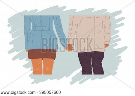 Beloved People Hold Hands. Two People From The Back. A Couple Of Loving People, Together. Concept Fo