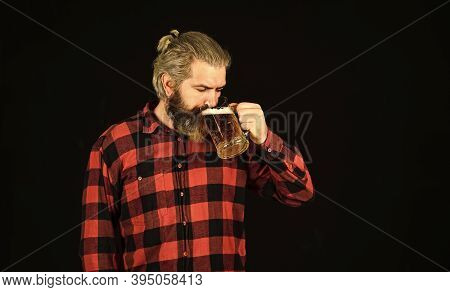 Thirst Needs Big Cold Beer. Brutal Bearded Man Drink Beer. Beer Pub. Bartender In Bar. Man Hold Mug