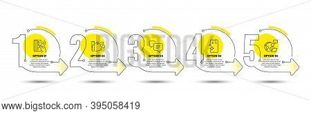 Contactless Payment, Smartphone Clean And Dots Message Line Icons Set. Timeline Process Infograph. B