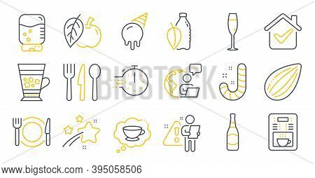 Set Of Food And Drink Icons, Such As Frappe, Candy, Ice Cream Symbols. Cooking Timer, Apple, Champag