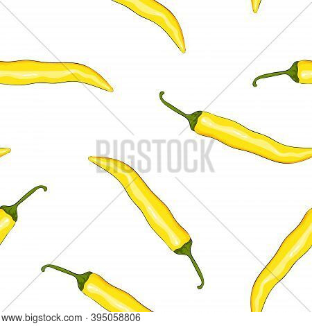 Seamless Pattern Yellow Chilli Pepper. Peppers Background. Hand Drawing Chilli Pepper. Vector Illust