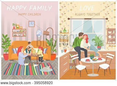 Happy Family, Parents And Children At Home On Floor Playing Games. Couple On Cabinet In Kitchen Smil