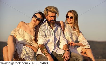 Summer Holidays. Relations Friendship Romance. Trio Lovers. Free Relationship. Threesome Concept. In