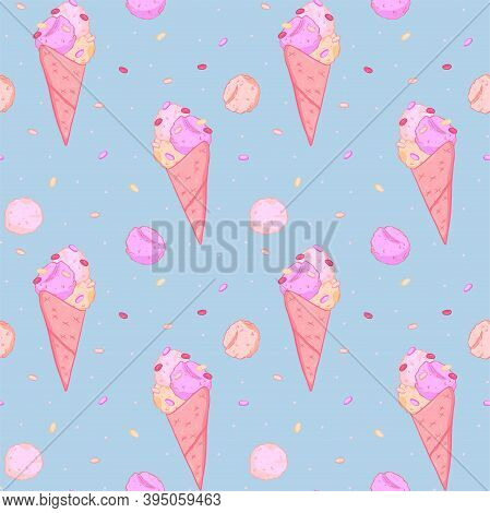 Illustration Seamless Pattern Ice Cream Wafer Cones And Balls On Blue Background. Doodle Style.