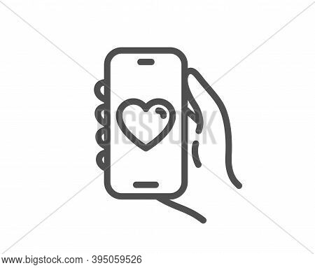 Dating App Line Icon. Hand Hold Phone Sign. Cellphone With Screen Notification Symbol. Quality Desig