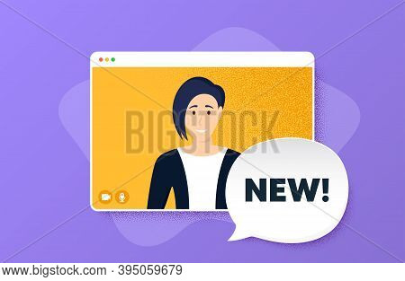 New Symbol. Video Conference Online Call. Special Offer Sign. New Arrival. Woman Character On Web Sc