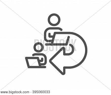 Delegate Work Line Icon. Teamwork Share Sign. Remote Office Symbol. Quality Design Element. Linear S