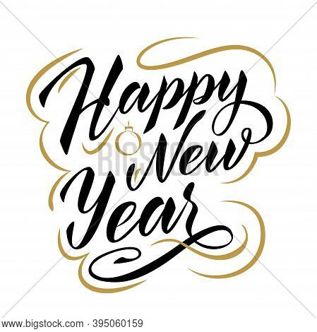 Happy New Year Lettering Composition. Two Colours Gold And Black. Vector Element For Label, Greeting