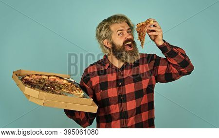Cheesy Taste. Love At First Slice. Fresh And Hot. In Mood For Italian Food. Man Bearded Hipster Hold