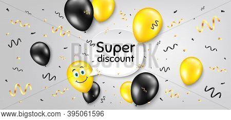 Super Discount Symbol. Balloon Confetti Vector Background. Sale Sign. Advertising Discounts Symbol.