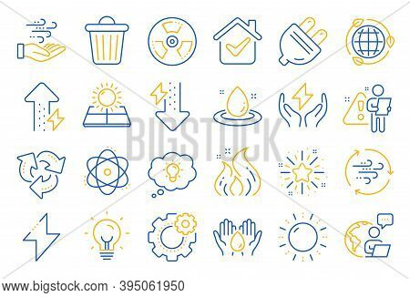 Energy Line Icons. Solar Panels, Wind Energy And Electric Thunder Bolt. Fire Flame, Hazard, Green Ec