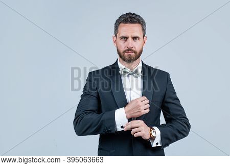 Handsome Man In Tuxedo. Confident Businessman With Bristle. Male Beauty And Fashion. Charismatic Bus