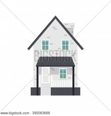 Cartoon Icon Of Residential Suburban House Flat Vector Illustration Isolated.