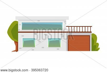 Modern Suburban House With Garage And Terrace Flat Vector Illustration Isolated.