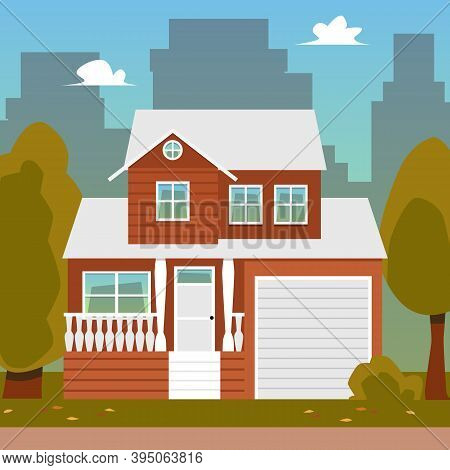 Cityscape Background With Cute Suburban House Flat Vector Illustration.