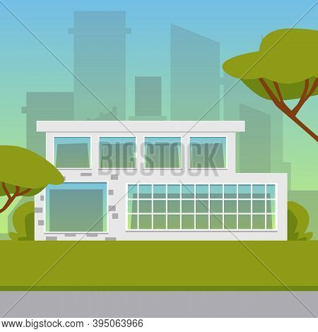 Vector Illustration Of Suburban Residential House For Buy Or Rent