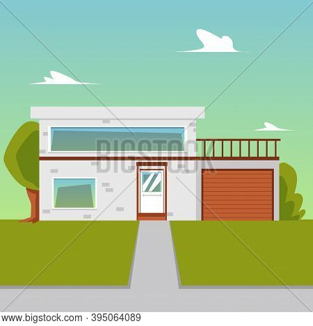 Vector Cartoon Flat Illustration Of Suburban House For Buy, Sale Or Rent.