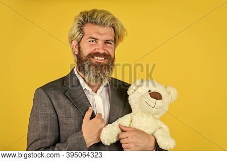 Real Happiness. Businessman Play With Toy. Soothing Toy With Autism. Brutal Bearded Man Ready For Ro