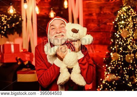 Charity And Kindness. Lovely Hug. Santa Claus. Mature Man With White Beard. Christmas Spirit. Bearde
