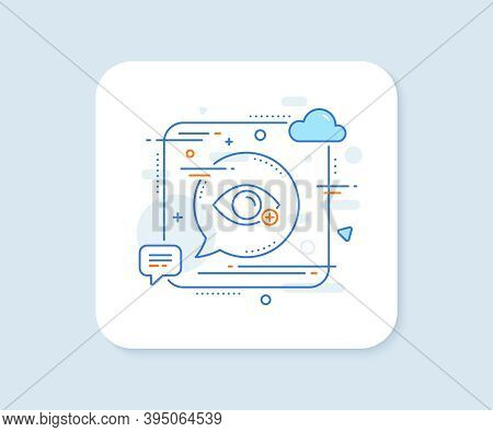 Farsightedness Line Icon. Abstract Square Vector Button. Eye Diopter Sign. Optometry Vision Symbol.