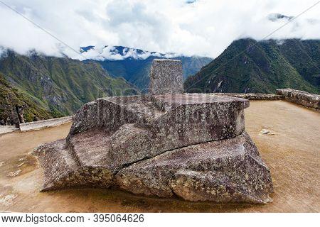 Machu Picchu, Intihuatana Stone, Detail From Peruvian Incan Town, Unesco World Heritage Site, Sacred