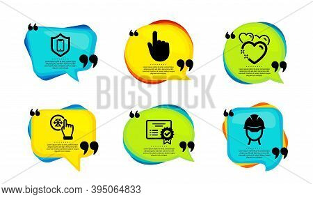 Freezing Click, Heart And Certificate Icons Simple Set. Speech Bubble With Quotes. Smartphone Protec