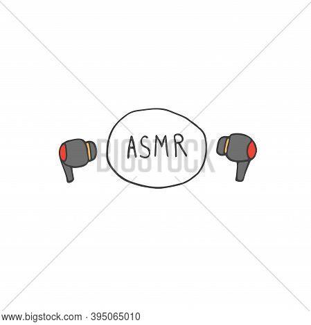 Earphones Emblem, Icon. Asmr Concept Vector Illustration. Autonomous Sensory Meridian Response Lette
