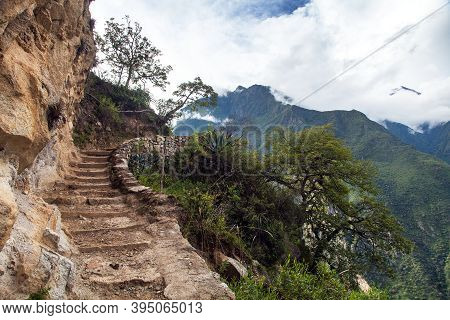 Choquequirao Trekking Inca Trail, Pathway From Coquequirao To Machu Picchu In Peru, Andes Mountains